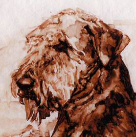 "Closeup of Airedale Terrier head from limited edition ""Three of a Kind"""
